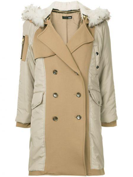 Акриловое желтое длинное пальто с капюшоном Frei Ea