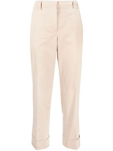 Хлопковые бежевые укороченные брюки с поясом Incotex