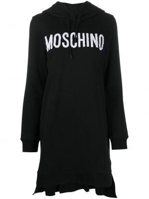 Хлопковое черное платье макси с капюшоном Moschino