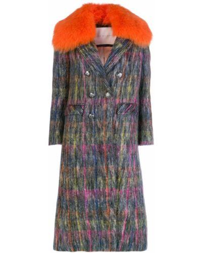 Серое шерстяное длинное пальто с воротником Giada Benincasa