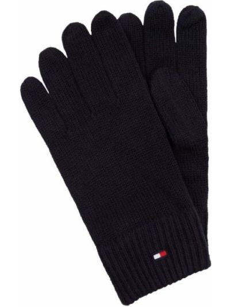 Prążkowane z kaszmiru niebieskie rękawiczki Tommy Hilfiger