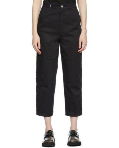 Czarne spodnie skorzane z paskiem Ader Error