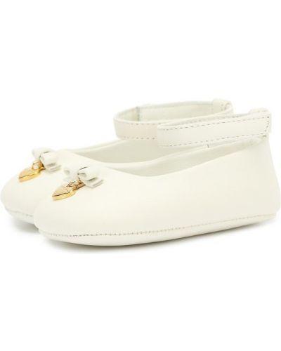 Белые пинетки кожаные Dolce & Gabbana