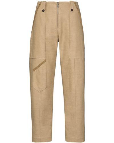 Коричневые брюки из вискозы на молнии Chloé