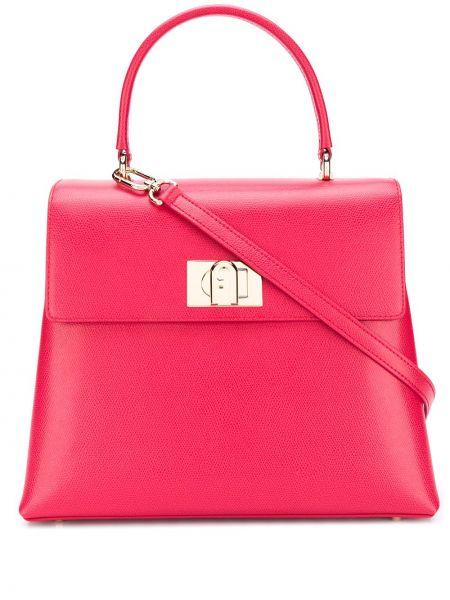 Розовая кожаная сумка-тоут на молнии Furla