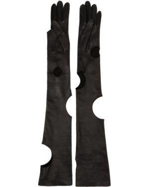Skórzany rękawiczki długo czarny Off-white