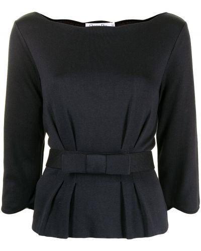 Czarna bluzka z jedwabiu Christian Dior