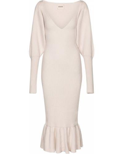 Шерстяное белое платье миди Khaite