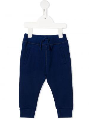 Синие прямые спортивные брюки с поясом Dsquared2 Kids