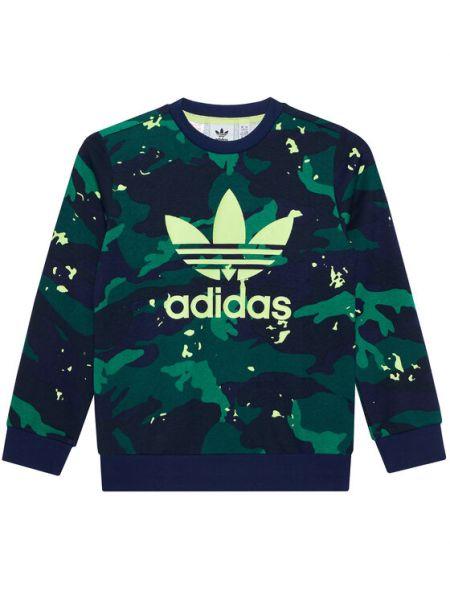 Zielona bluza z nadrukiem z printem Adidas