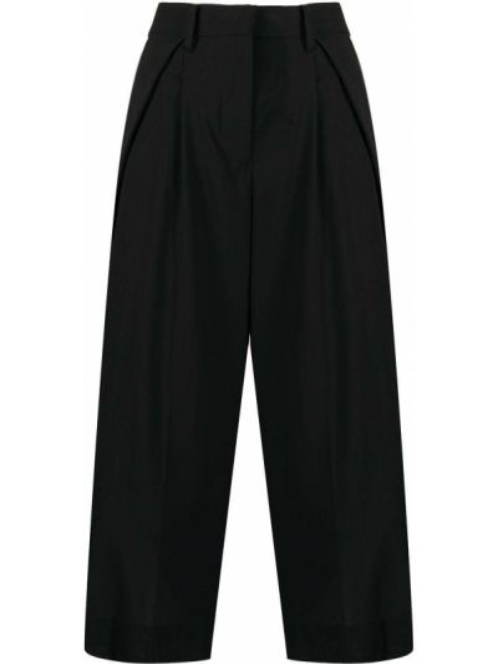 Wełniany czarny spodnie culotte bezpłatne cięcie z kieszeniami Sacai