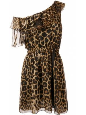 Шелковое платье - коричневое Saint Laurent
