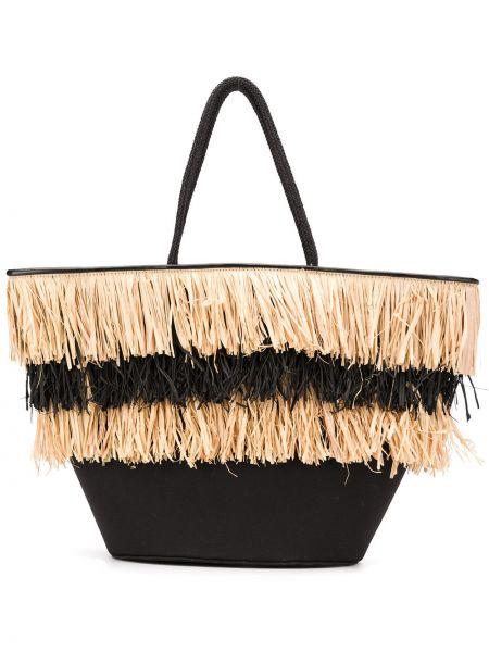 Черная соломенная сумка-тоут с бахромой Dorothee Schumacher