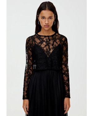 Блузка кружевная черная Pull&bear