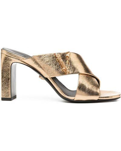 Открытые кожаные мюли на каблуке Versace