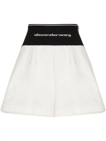 Białe szorty z wysokim stanem bawełniane Alexander Wang