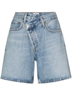 Bawełna niebieski bawełna klasyczny jeansy z kieszeniami Agolde