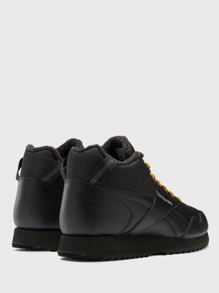 Кожаные теплые черные кроссовки с запахом Reebok