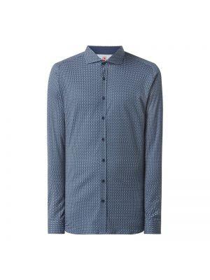 Niebieska koszula bawełniana z raglanowymi rękawami Desoto