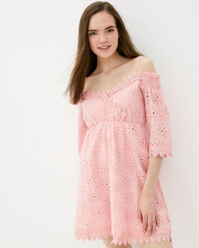 Розовое платье с открытыми плечами Izabella