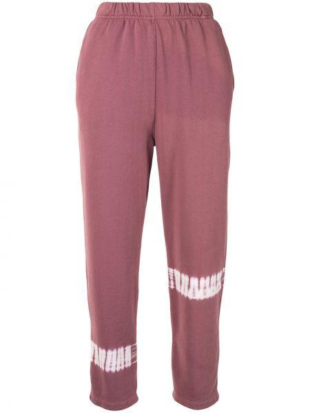 Хлопковые розовые спортивные брюки с поясом узкого кроя Raquel Allegra