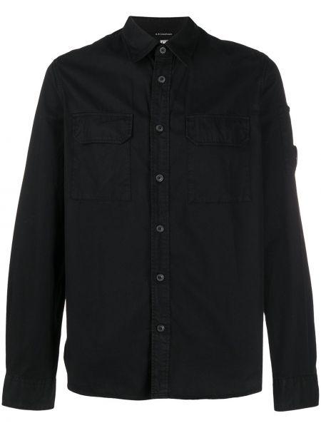 Рубашка с длинным рукавом с карманами черная Cp Company Kids