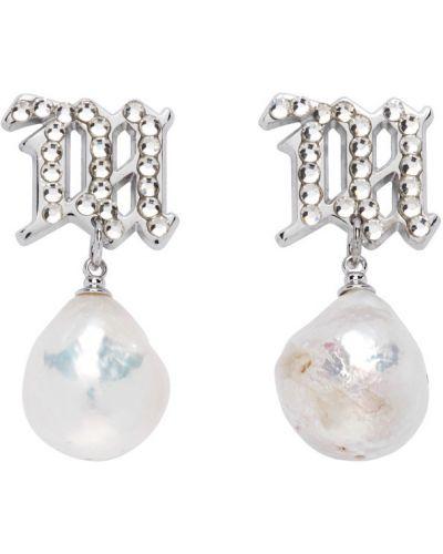 Białe kolczyki sztyfty perły srebrne Misbhv