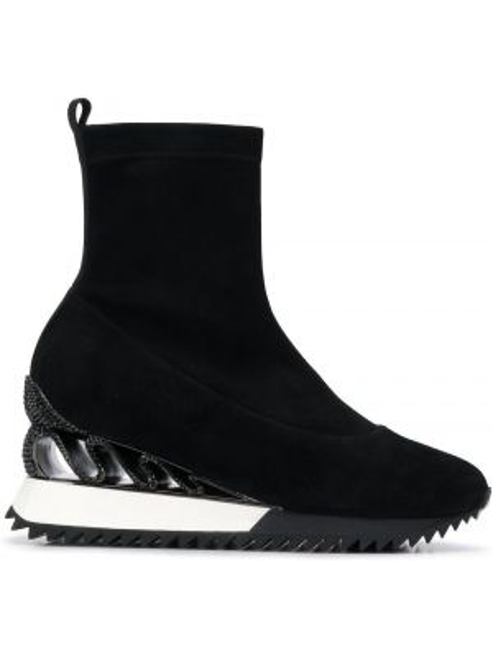 Кожаные черные носки без застежки на плоской подошве Le Silla