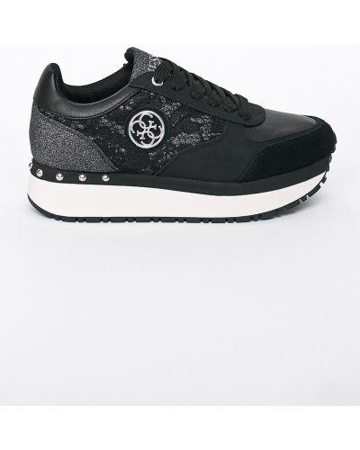 Кроссовки на платформе черные текстильные Guess Jeans