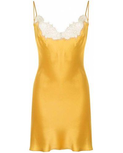 Кружевное сатиновое ажурное платье золотое Gilda & Pearl
