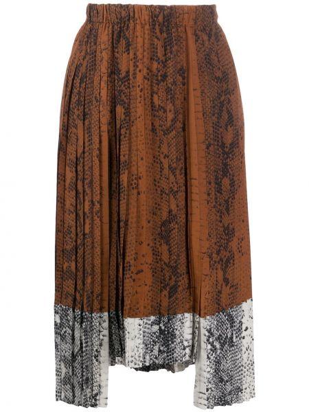 Плиссированная юбка миди с завышенной талией N21