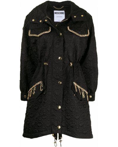 Черное длинное пальто в клетку с капюшоном Moschino
