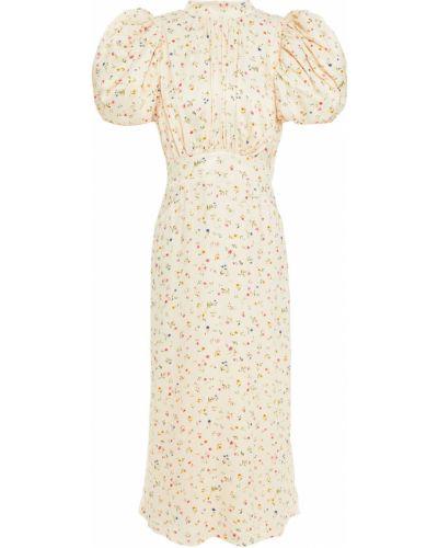 Beżowa satynowa sukienka midi z printem Rotate Birger Christensen