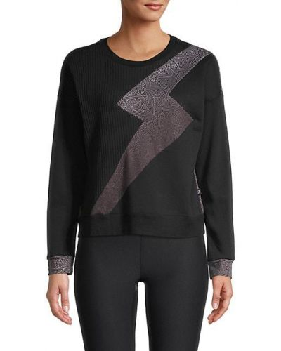 Хлопковый черный пуловер с манжетами Terez