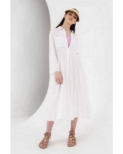 Платье на пуговицах свободного кроя с карманами из штапеля Vovk