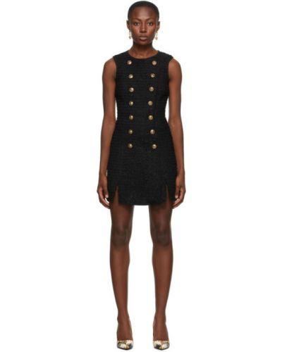 Шерстяное черное джинсовое платье без рукавов Versace Jeans Couture