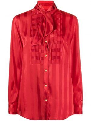 Шелковая красная блузка с бантом Dolce & Gabbana