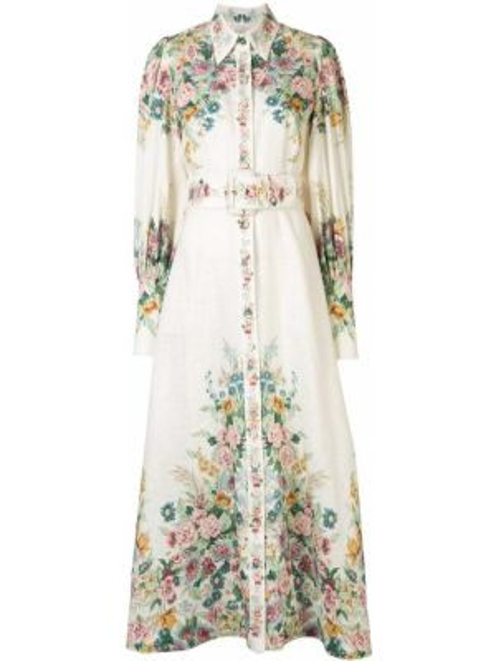Платье с поясом на пуговицах с цветочным принтом Zimmermann