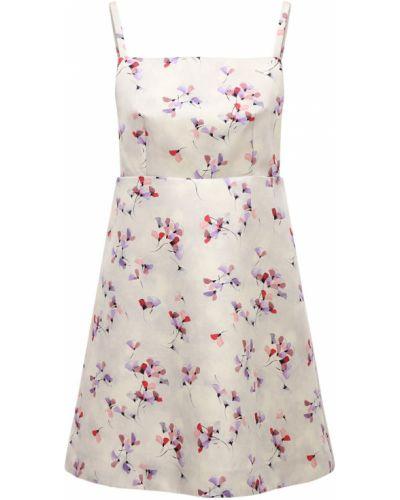 Бежевое шелковое платье мини Prada
