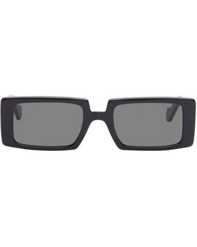 Мерцающие черные солнцезащитные очки прямоугольные из натуральной кожи Loewe