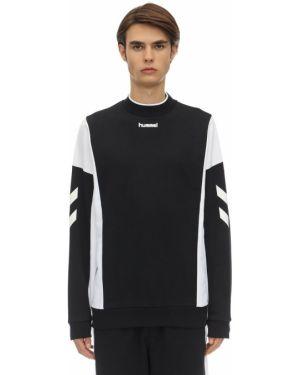 Prążkowana czarna bluza bawełniana Hummel