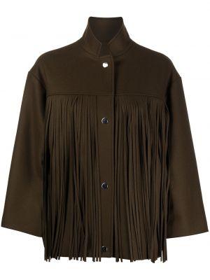 С рукавами коричневая куртка с воротником Roseanna
