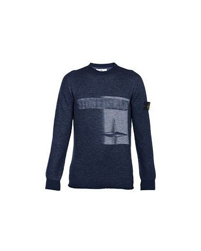 Синий свитер стрейч Stone Island
