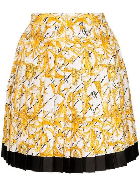 Плиссированная белая шелковая плиссированная юбка Versace
