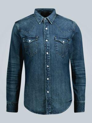 Синяя деловая джинсовая рубашка на кнопках Rrl