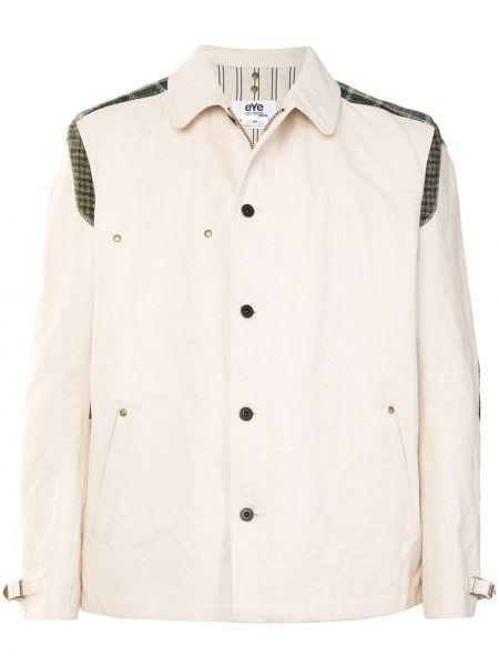 С рукавами хлопковая белая длинная куртка с заплатками Junya Watanabe Man