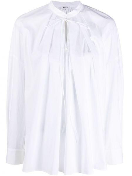 Biała bluzka z długimi rękawami bawełniana Enfold