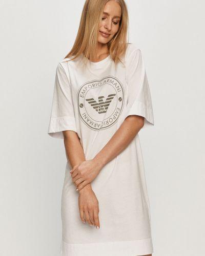 Biała piżama z koszulą bawełniana z printem Emporio Armani