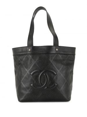 Кожаная черная сумка шоппер винтажная Chanel Pre-owned