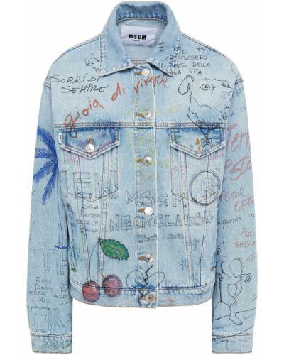 Синяя джинсовая куртка на пуговицах с вышивкой Msgm
